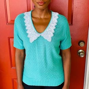 Turquoise Green VTG Knit Lace V-Neck Sweater